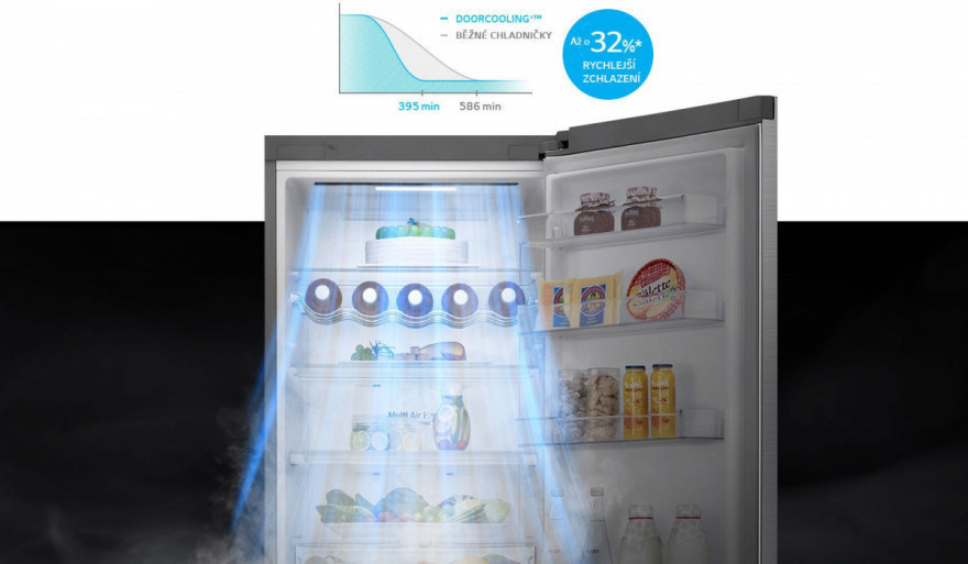 Až o 32%* rovnomernejšie chladenie v chladničke